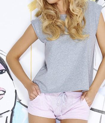 Комплект Pigeon 425 футболка и шорты в мелкий горох серо-розовый