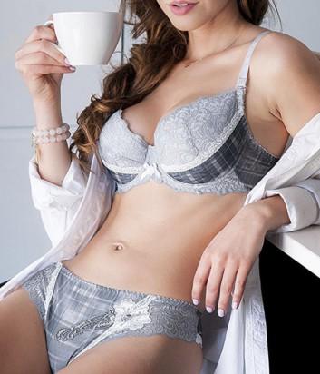 Комплект Ava Anemone бюстгальтер push up и бразилианки серый