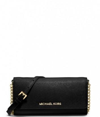 Кожаное портмоне-клатч Michael Kors Jet Set с длинной ручкой черный