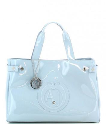Сумка-шоппер Armani Jeans 0529155 глянцевая нежно-голубая