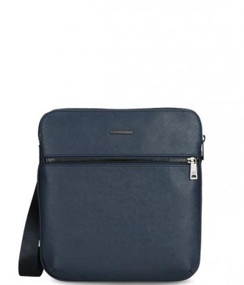 Мужская сумка Armani Jeans 0621MT2 с фактурой сафьяно темно-синяя