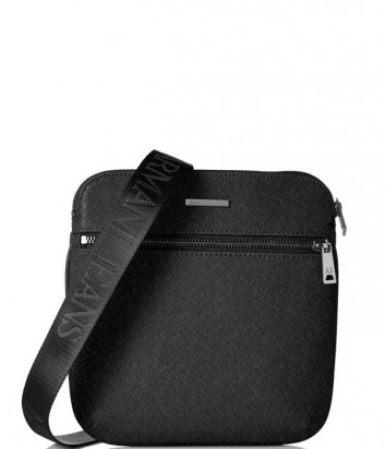 Сумка через плечо Armani Jeans 0622ZT2 с фактурой сафьяно черная