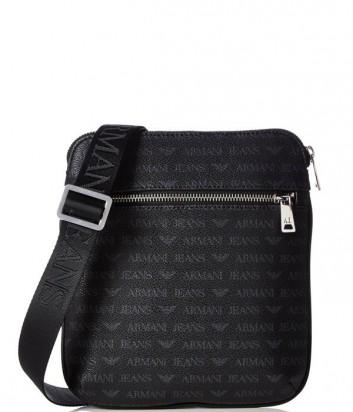 Мужская сумка Armani Jeans 0622EJ4 с надписями по-больше черная