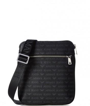 Мужская сумка Armani Jeans 0622FJ4 с надписями по-меньше черная