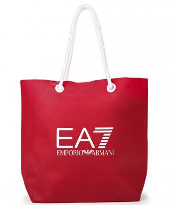 Вместительная пляжная сумка EA7 Emporio Armani с логотипом красная