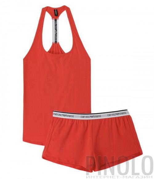 Хлопковый комплект Emporio Armani шорты и майка коралловый