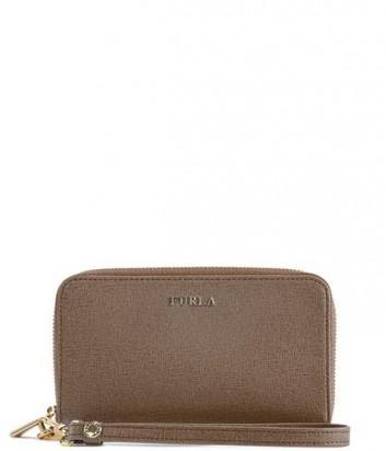 Кожаное портмоне Furla Babylon 763646 с ремешком серо-коричневое