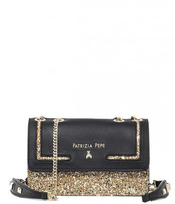 Сумка Patrizia Pepe Glitter на длинной ручке-цепочке черная с золотом