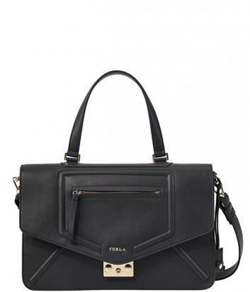 Кожаная сумка Furla Alice 757165 с застежкой-защелкой черная