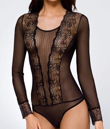 Полупрозрачное боди Ava Elizabeth с длинным рукавом черное