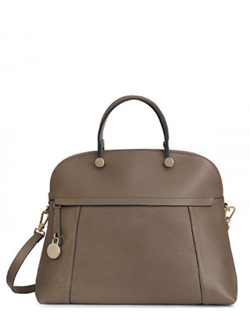 Кожаная сумка Furla Piper London 835725 большая серо-коричневая