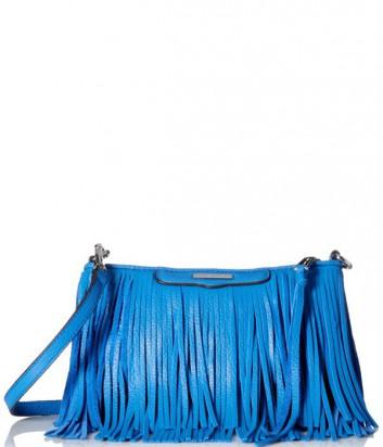 Кожаная сумка через плечо Rebecca Minkoff Finn с бахромой синяя