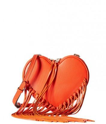 Сумка Rebecca Minkoff Heart Fringe в виде сердца с бахромой оранжевая