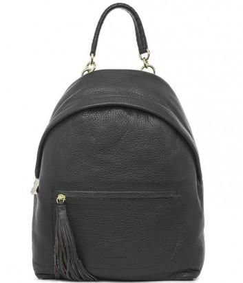 Большой кожаный рюкзак Coccinelle Leonie с брелоком-кистью черный
