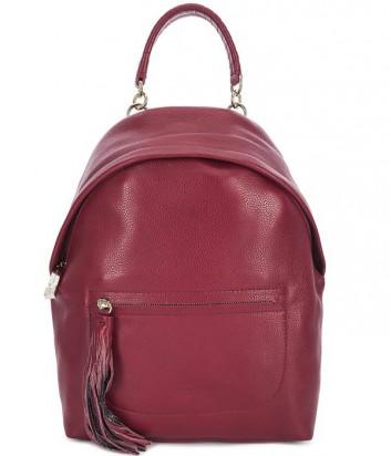 Большой кожаный рюкзак Coccinelle Leonie с брелоком-кистью красный