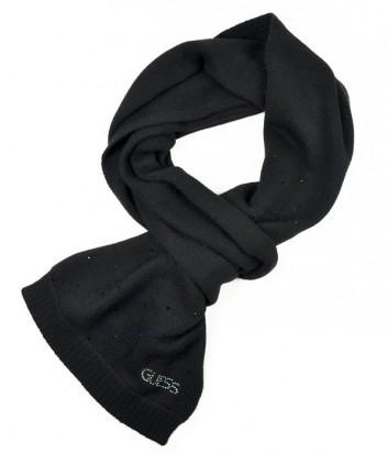Теплый женский шарф Guess усыпан мелкими кристаллами черный