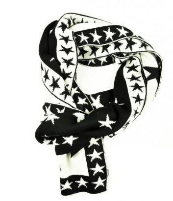 Теплый шарф Guess со звездным принтом черно-белый