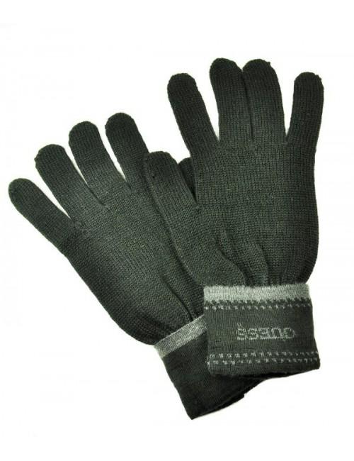 Теплые мужские перчатки Guess с фирменным принтом черные