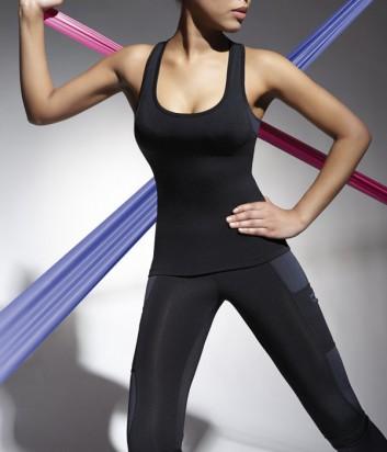 Эластичный спортивный топ Bas Bleu Fitness Teamtop длинный черный