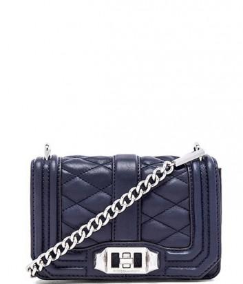 Маленькая кожаная сумка Rebecca Minkoff Love на цепочке темно-синяя