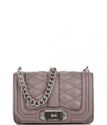 Маленькая кожаная сумка Rebecca Minkoff Love на цепочке лиловая
