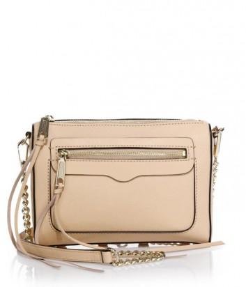 Кожаная сумка Rebecca Minkoff Avery с внешним карманом пудровая