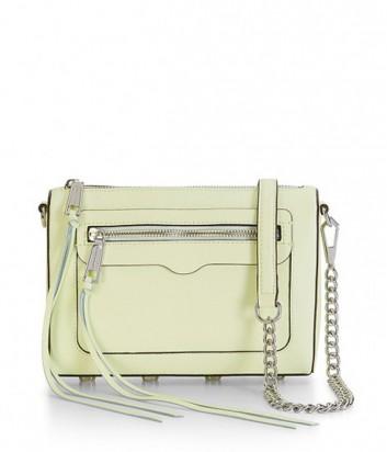 Кожаная сумка Rebecca Minkoff Avery с внешним карманом светло-желтая