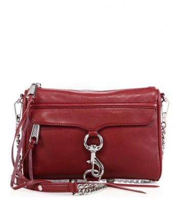 Кожаная сумка Rebecca Minkoff MAC mini с передним карманом цвета мерло