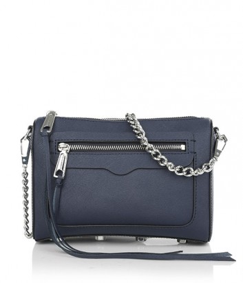 Кожаная сумка Rebecca Minkoff Avery с внешним карманом темно-синяя