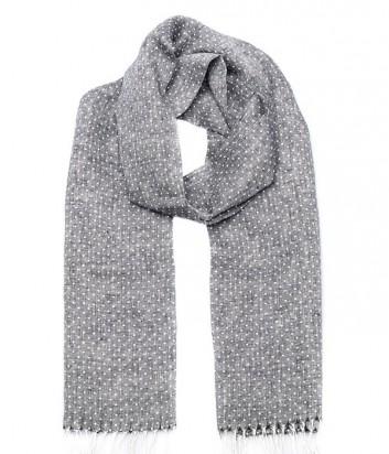 Женский льняной шарф Gian Franco Ferre в мелкий горох серый