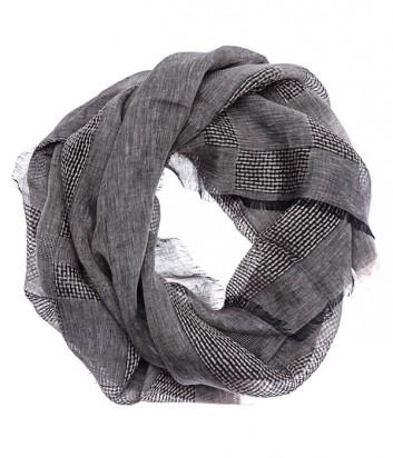Стильный шарф унисекс Gian Franco Ferre в мелкую клетку серый