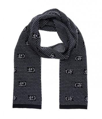 Теплый мужской шарф Gian Franco Ferre с лаконичным принтом серый