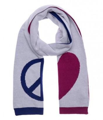 Теплый женский шарф Moschino с фирменным рисунком бренда мультиколор