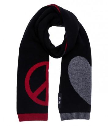 Теплый женский шарф Moschino с фирменным рисунком бренда черный