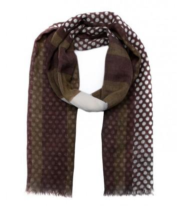 Роскошный женский шарф Pollini из итальянкой шерсти коричневый в горох