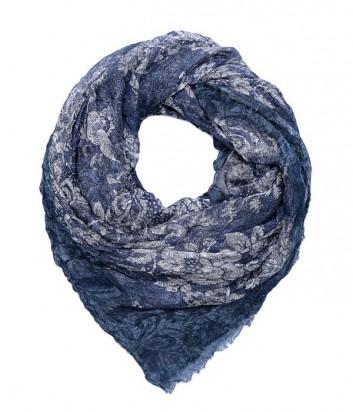 Женский платок 813 Ottotredici с нежным цветочным узором синий