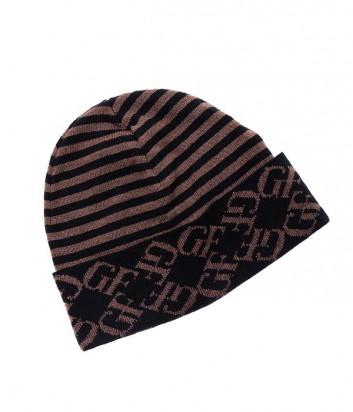 Мужская шапка Gian Franco Ferre с полосатым принтом коричневая