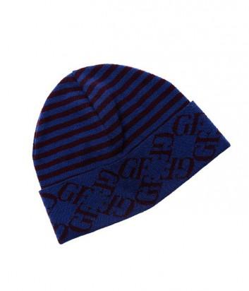 Мужская шапка Gian Franco Ferre с полосатым принтом синяя