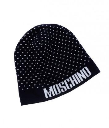 Теплая мужская шапка Moschino темно-синяя в мелкий принт