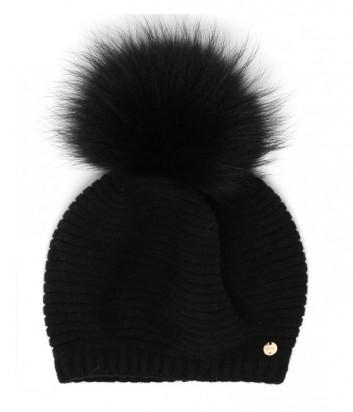 Женская шапка Liu Jo PON PON с пышным бубоном черная
