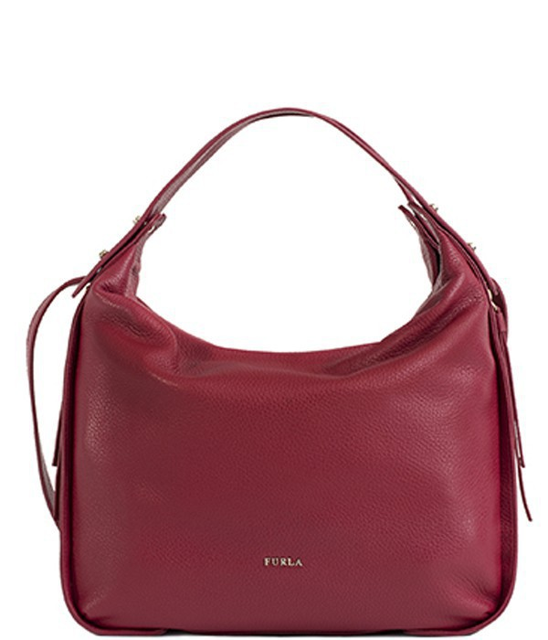 Сумка-хобо Furla Eva 834954 из мягкой текстурной кожи рубиновая