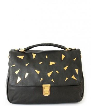 Большая кожаная сумка Coccinelle Oscar декорирована заклепками черная