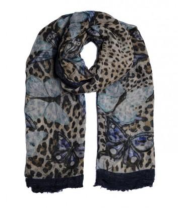 Женский платок 813 Ottotredici с леопардовым принтом и бабочками