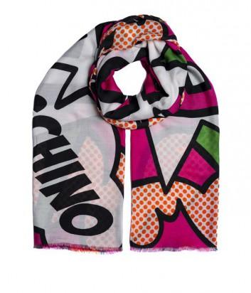 Женский шарф Moschino Boutique с фирменной надписью оранжевый
