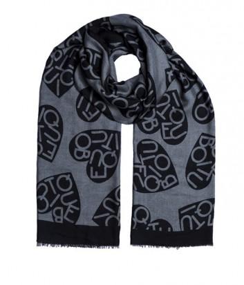 Женский шарф Moschino Boutique с принтом в виде сердец серый