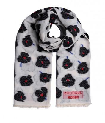 Женский шарф Moschino Boutique с ярким цветочным принтом черный