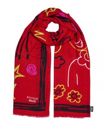 Большой женский шарф Moschino Boutique с забавными рисунками красный