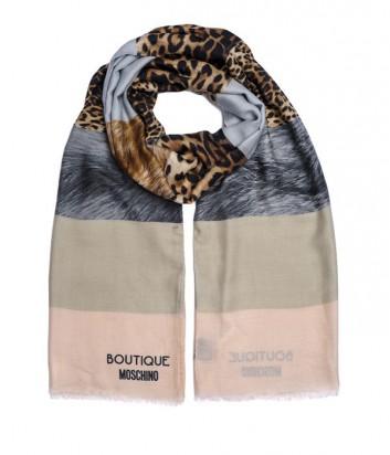 Большой женский шарф Moschino Boutique комбинированная полоска розовый