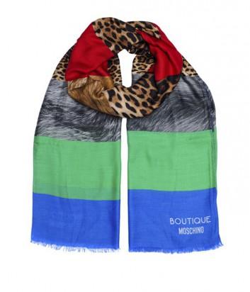 Большой женский шарф Moschino Boutique комбинированная полоска синий