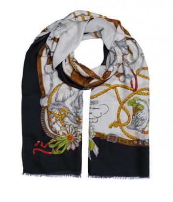 Теплый женский шарф Moschino Boutique с изображением гусей цветной